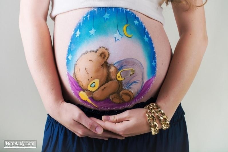 Фотосессия беременной с рисунками